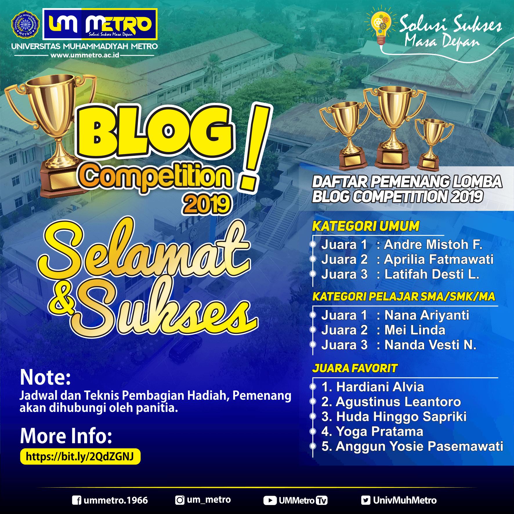 Panitia Umumkan Juara UM Metro Blog Competition 2019